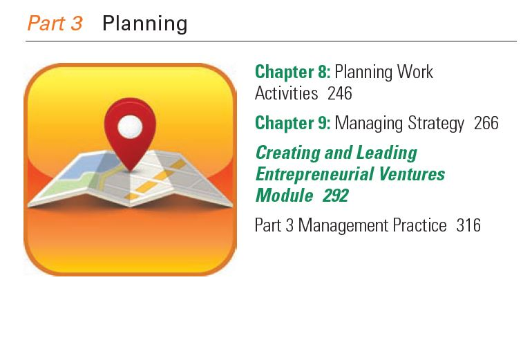 Managerial Planning - Contents of Part 3 of Management Book
