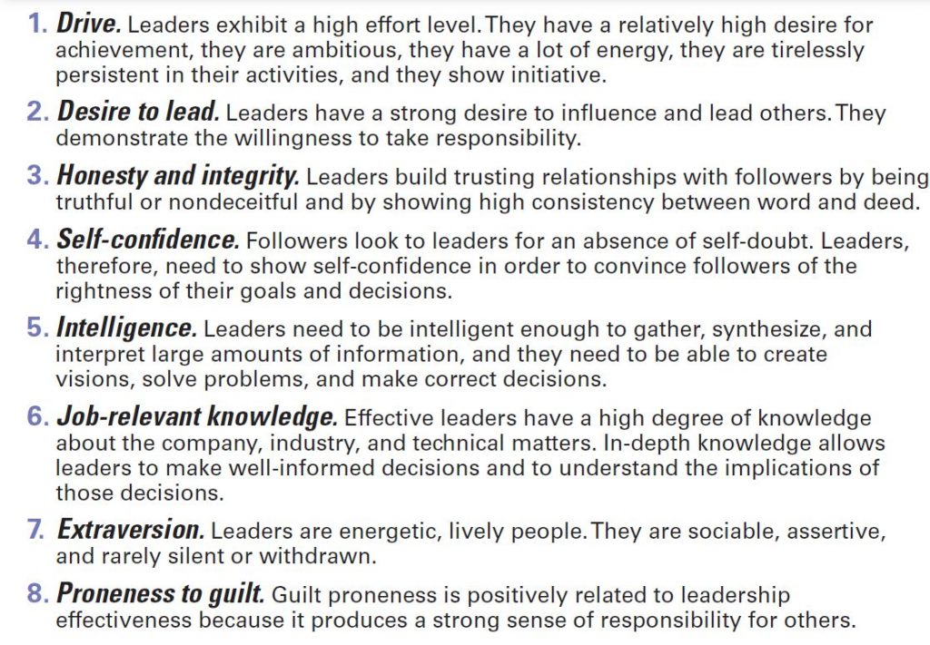 Motivation & Effective Leadership : Eights characteristics (as per modern studies) are important for effective leadership
