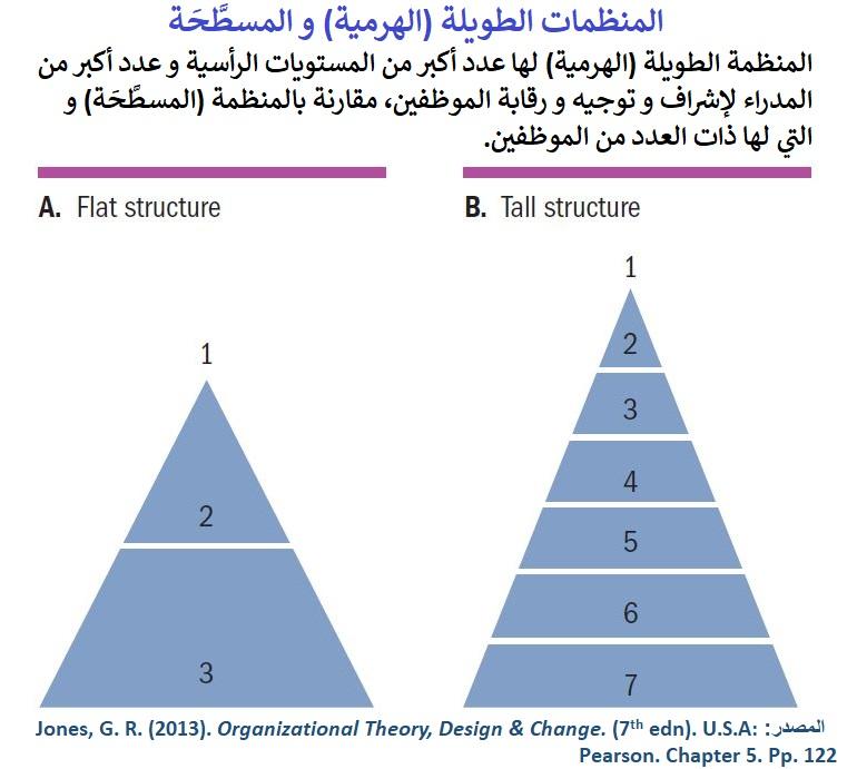 مع تساوي عدد الموظفين، الهيكل الطويل الهرمي له مراتب أفقية و مدراء أكثر من الهيكل المسطح