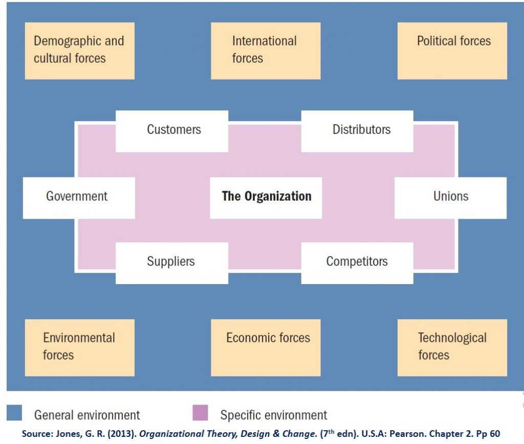 Organizations' Environment includes the general (affects all organizations) and specific (strongly engaged with organizations)