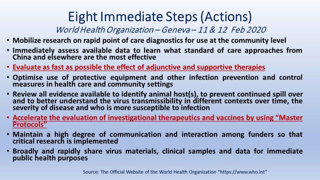 The WHO's global meeting in Feb 2020 agreed on 8 immediate steps in fighting Novel Corona Virus.