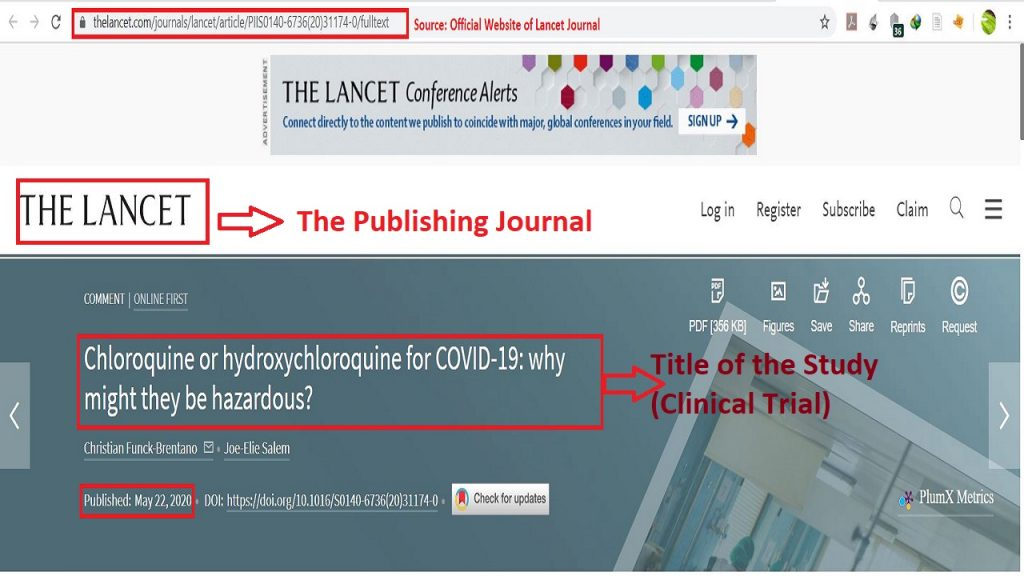 The (Lancet) study made the latest update in COVID-19 global project because its results caused the WHO to make official pause for Hydroxychloroquine drug from clinical trials.