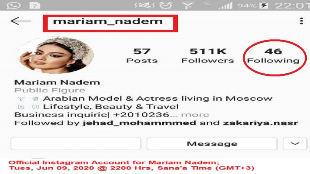 The 1st Yemeni Fashion Model (Mariam Nadem) had her Instagram Account hacked about two weeks ago.