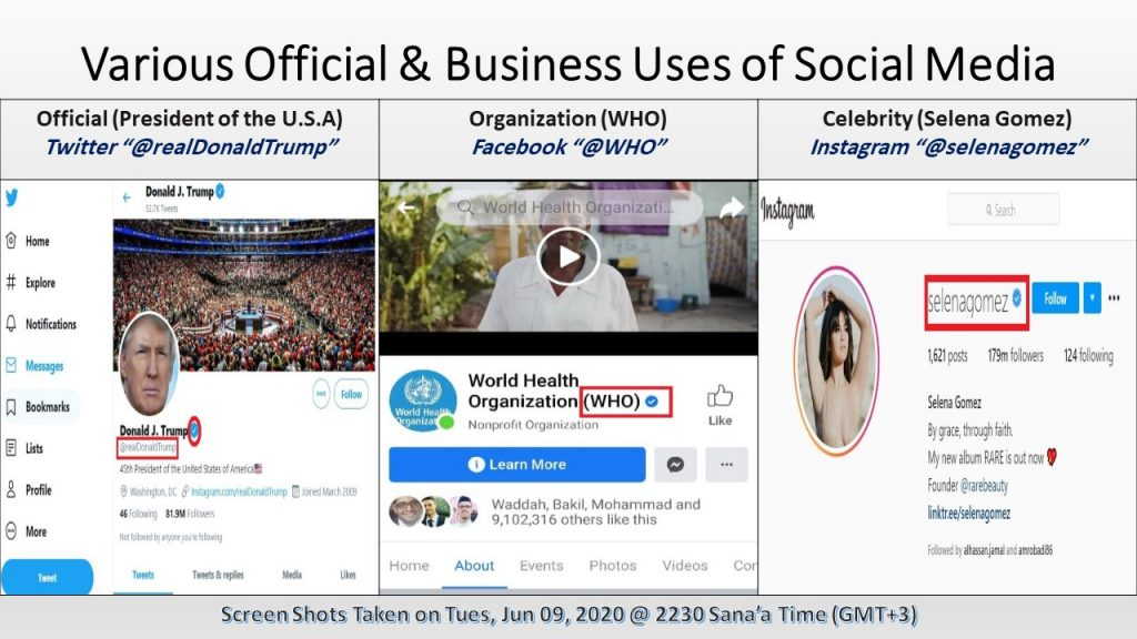 These are different official and business social media accounts, which have verification badges that enhance their authenticity and security.