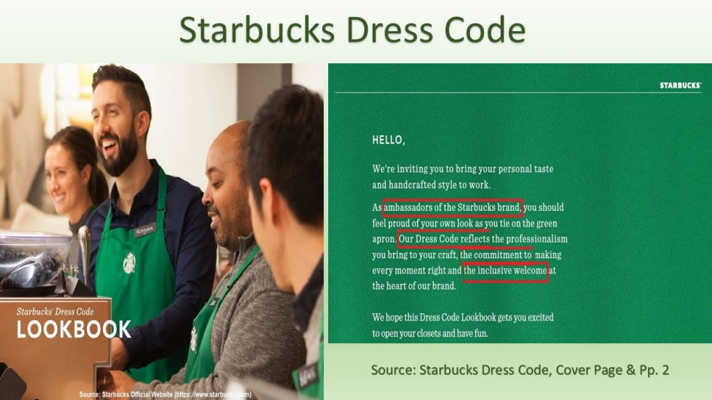 Starbucks dress code is composed as per the guidance of their inclusive culture .