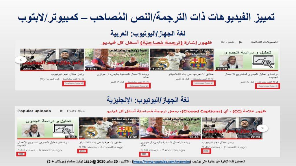 انتهاء إدخال النصوص العربية يظهر من خلال وجود إشارة(سي سي) أو (ترجمة مصاحبة) بجانب الفيديوهات في الكمبيوتر / اللابتوب