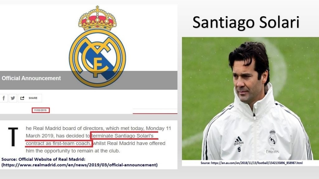 The crucial decision of replacing Solari with Zidane was taken in Mar 2019.