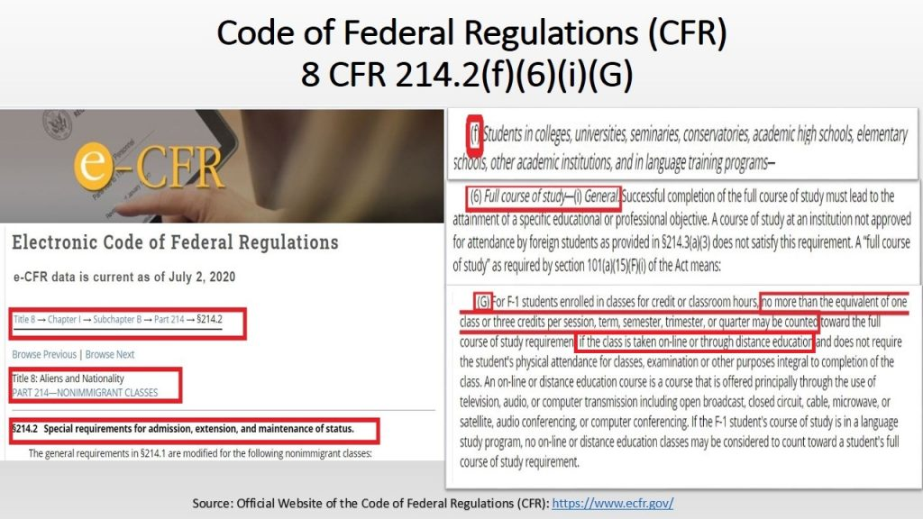USA ICE new rule reverted to the actual rules regarding non-immigrant students & online education in the CFR, with few exemptions