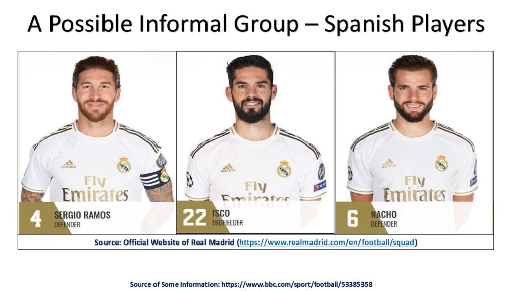 Informal groups are present in all organizations, such as the possible informal group of Spanish players within Real Madrid 1st Team Players group.