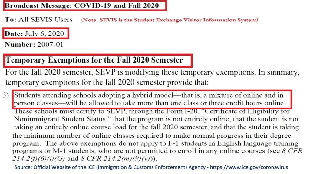 USA ICE New Rule still exempted hybrid non-immigrant students from the max limit of online classes/hours, provided they have in person education.