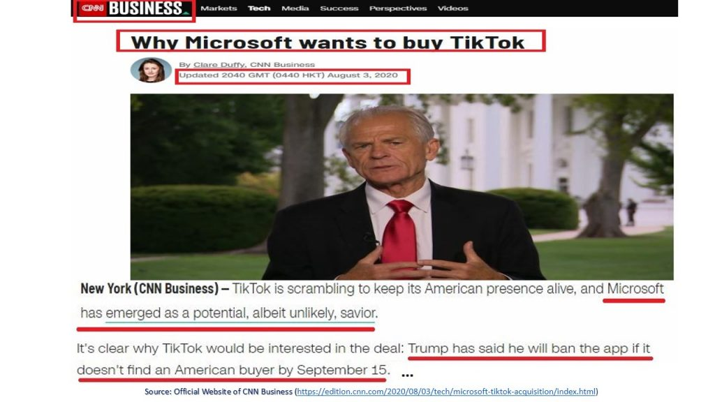 Rumors ruin TikTok and might cause the app to be acquired by the American Giant (Microsoft(.