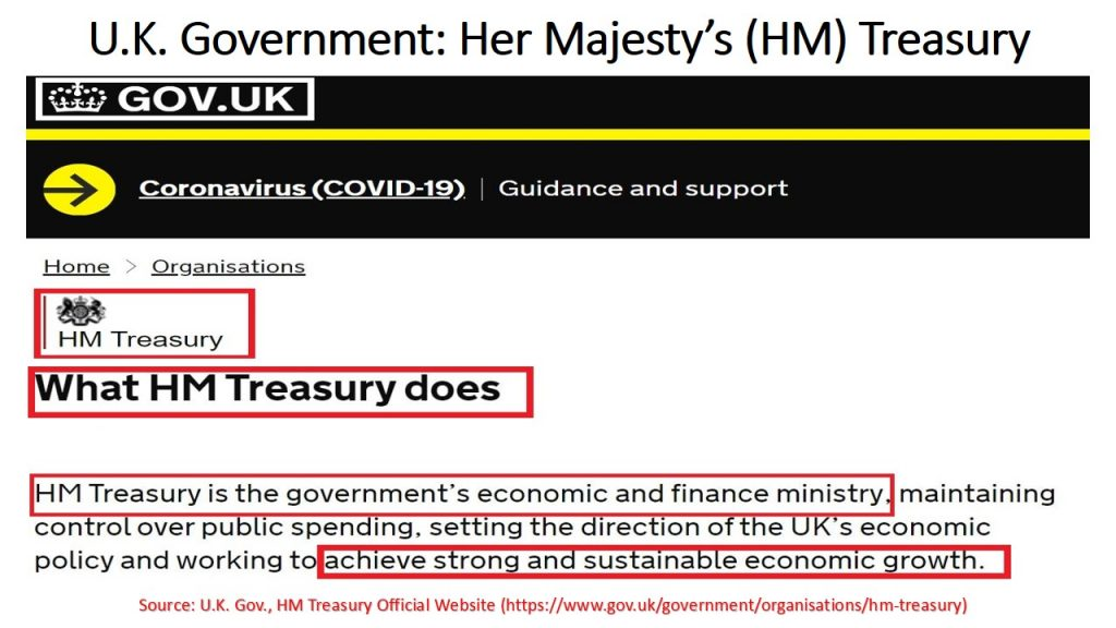 """Human resource management actions from the British Government were based on HM Treasury's mission of achieving """"strong and sustainable economic growth""""."""