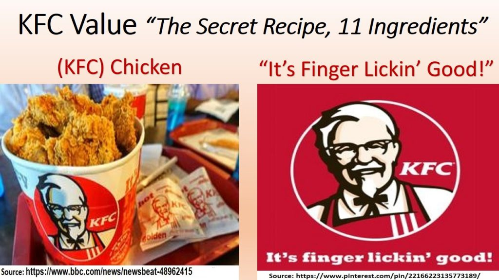 KFC value proposition is in its secret 11 ingredients recipe, which is positioned by the motto (Finger Lickin' Good)