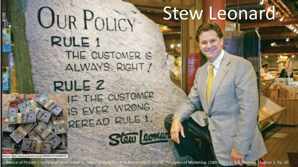 A famous slogan for businesses is the marketing statement: (The Customer is Always Right).