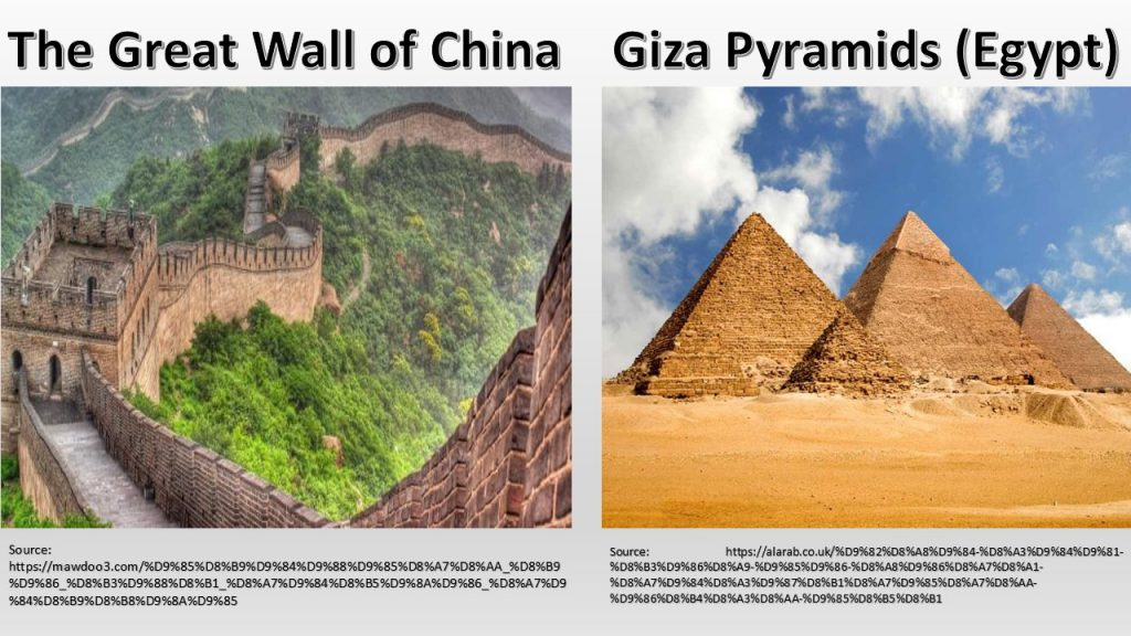 Our ancestors have performed magnificent projects, such as the pyramids of Egypt and China Great Wall.