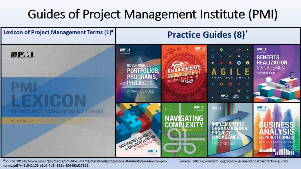 PMI issues guides, including Lexicon of Project Management Terms,  to explain implementing the standards.