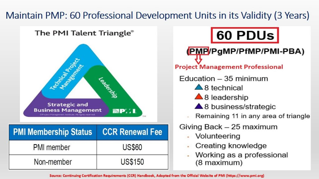 Obtain and Maintain Your PMP by renewing your qualification via gaining 60 Professional Development Units (PDUs) in three years.