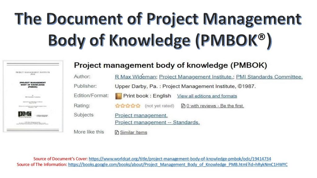 """In 1987, PMI issued its first and primary standard for project management, namely the document of """"Project Management Body of Knowledge (PMBOK® )."""