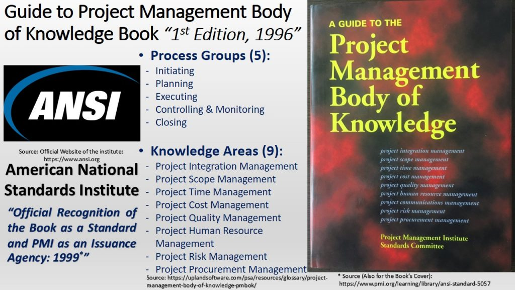 First edition of A Guide to Project Management Body of Knowledge was in 1996, and certification of the book and PMI from the American National Standard Institute was in 1999.