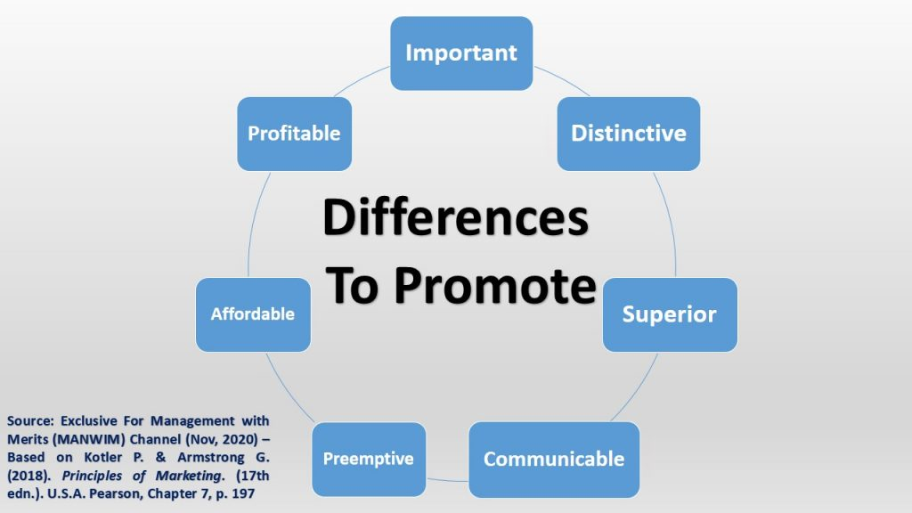 In value differentiation, there are various features for the differences that companies can promote.