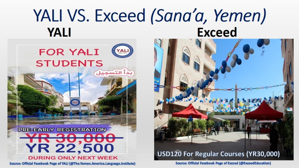 Marketing strategy and products of Exceed were superior to YALI with respect to the infrastructure and learning environment.