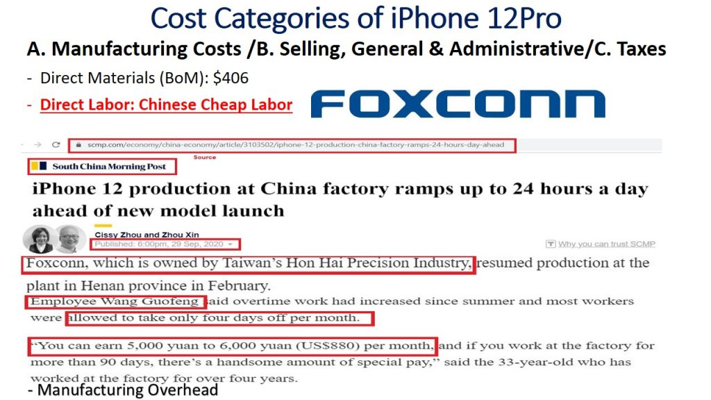 Pricing at marketing takes into account the costs, especially labor costs, which is the primary reason for Apple's decision in manufacturing its iPhones in the Chinese factories of Foxconn Taiwanese Company.