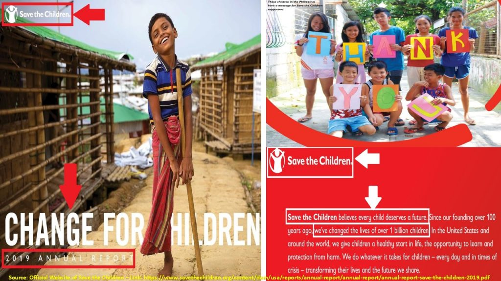 These pictures and statements from various promotional channels focus on one clear and consistent message for Save the Children: saving them and changing their lives.