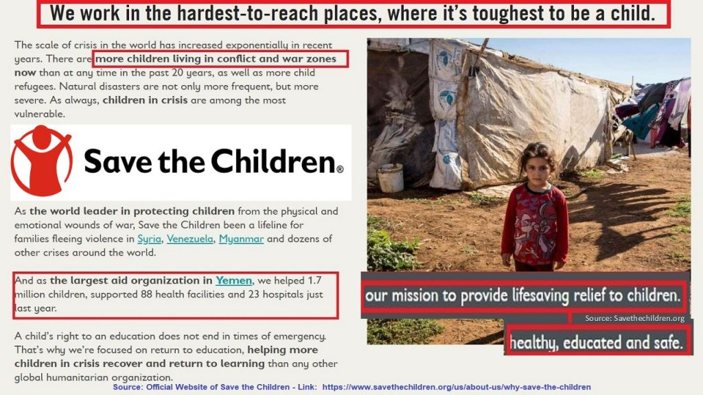 This figure highlights Distribution Logistics & Promotion  of Save the Children because it explains the organization's mission and shows an example of its working locations and beneficiaries (a child at a displacement camp).