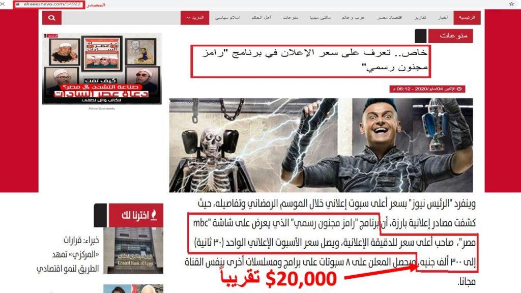 حسب ما ورد في هذا الموقع، تبلغ تكلفة عرض الإعلان الواحد (30ثانية) أثناء عرض برنامج رامز جلال حوالي 20 ألف دولار أمريكي