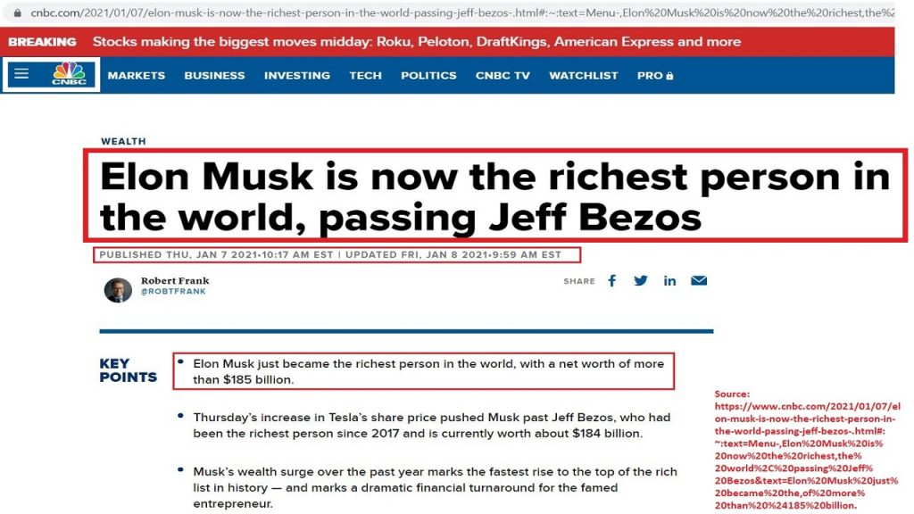 Elon Musk has been recently announced as the richest person in the world.