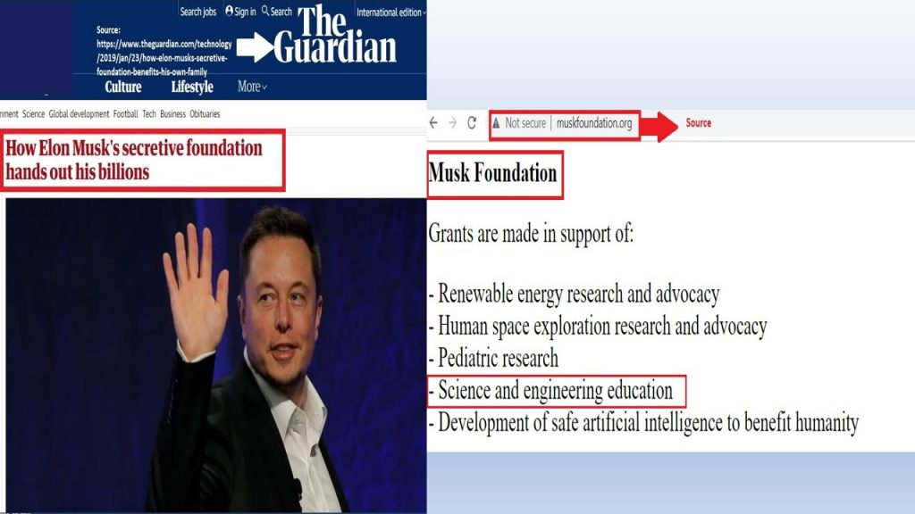 Musk Foundation has not only provided $5M to Khan Academy , but also has grants to support several sustainable projects.