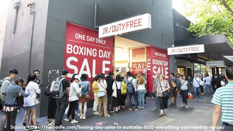 This crowd of the boxing day in Australia for the special offers and deals is an example of sales promotion, the fastest and shortest in sight in the promotional mix tools .