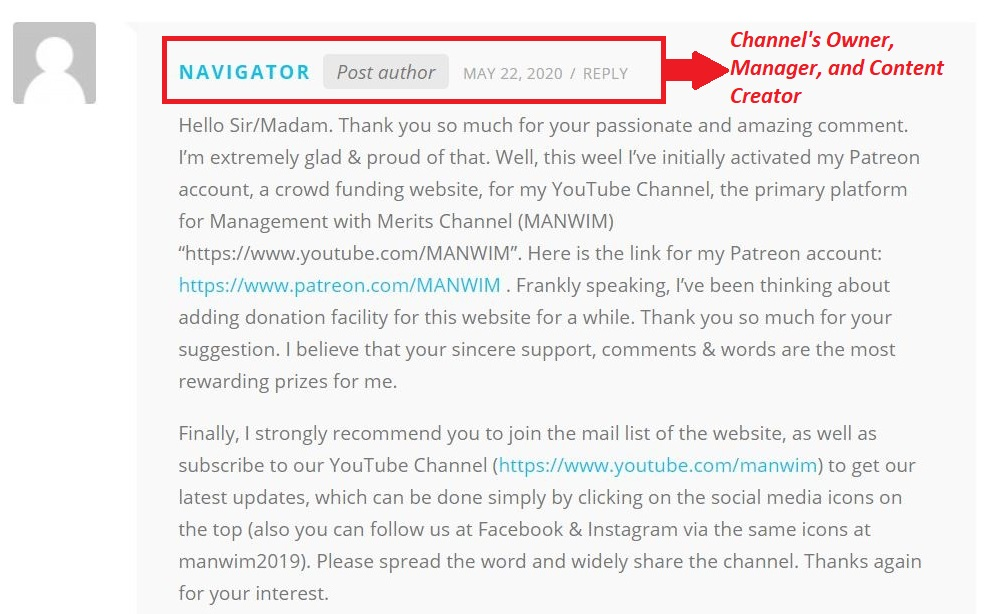 The owner of the channel replies to the donation offer made by one of the fans on May 22, 2020