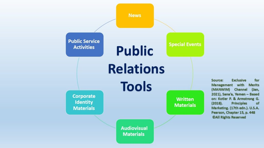 To do the activities of public relations, there are several available tools.