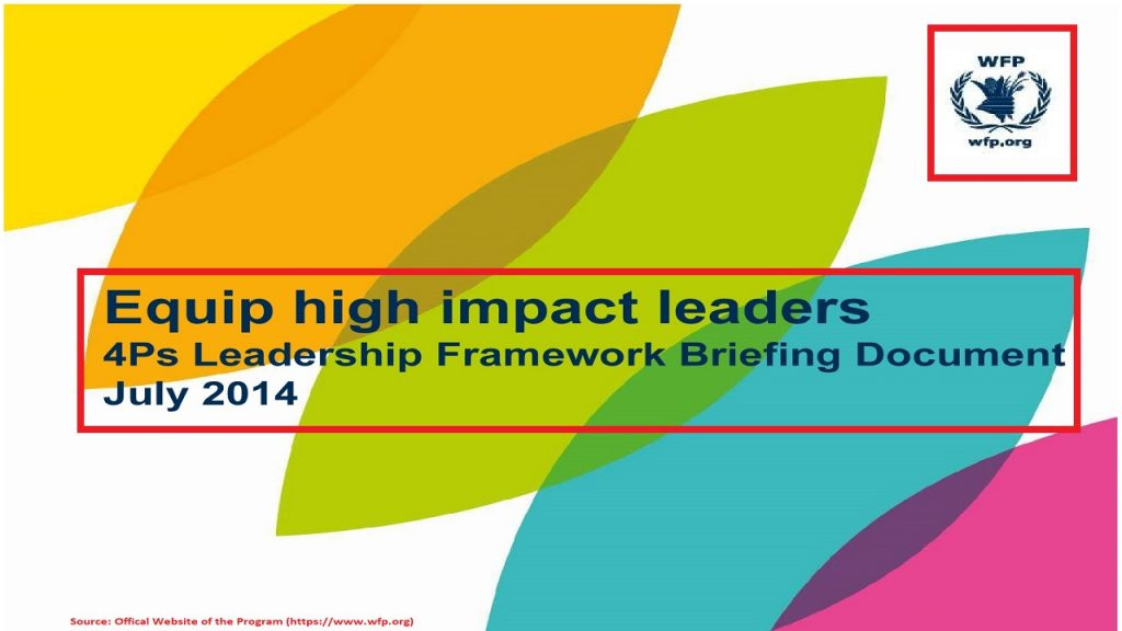 The Leadership Framework within the People Strategy of the WFP aims to equip high impact leaders in the Program.