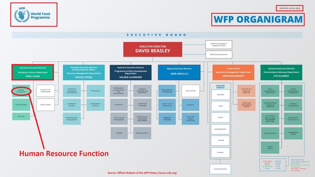 HR function in the WFP can not handle the workforce and human capital responsibility alone.