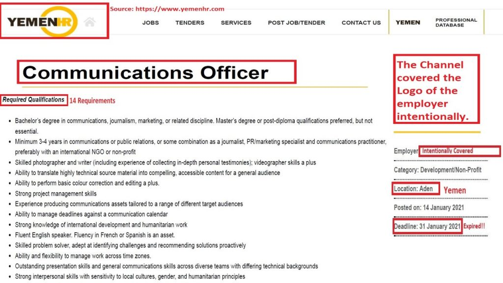 These 14 responsibilities for this Communication Officer job at an international humanitarian organization in Yemen are not realistic, relevant, or even possible.