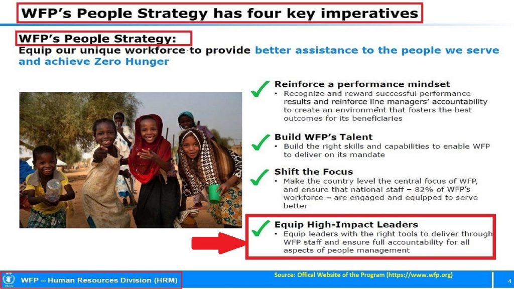 Leadership is one of the 4 key imperatives of the people strategy at the WFP.