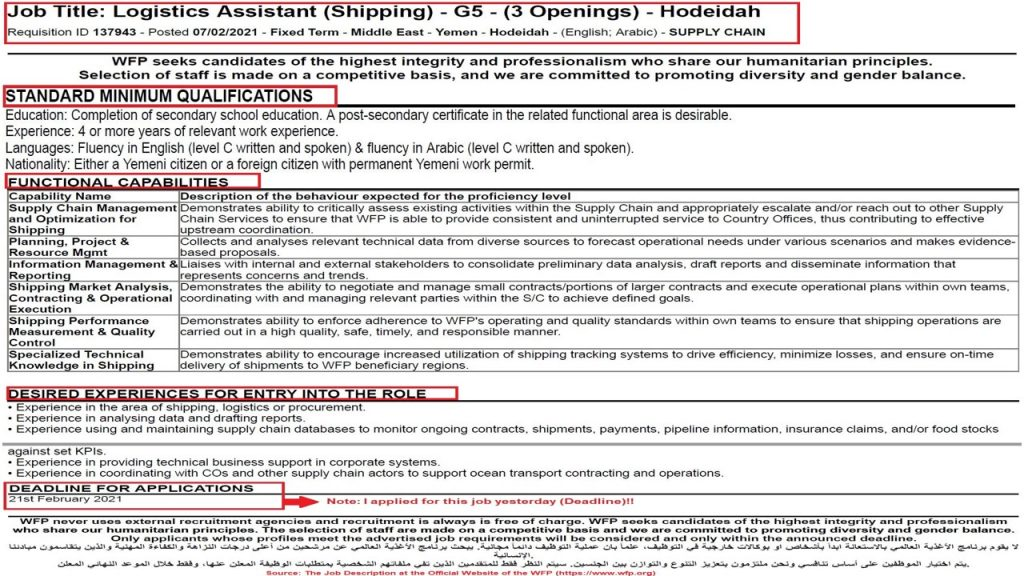 Job Requirements for this Logistics Assistant (Shipping) Job at the WFP Hodeidah is relevant to the job's profile, duties, and responsibilities.