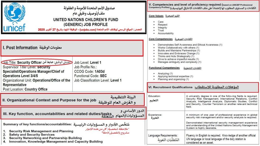 ملف أو توصيف وظيفي لوظيفة ضابط أمن باليونسيف في اليمن