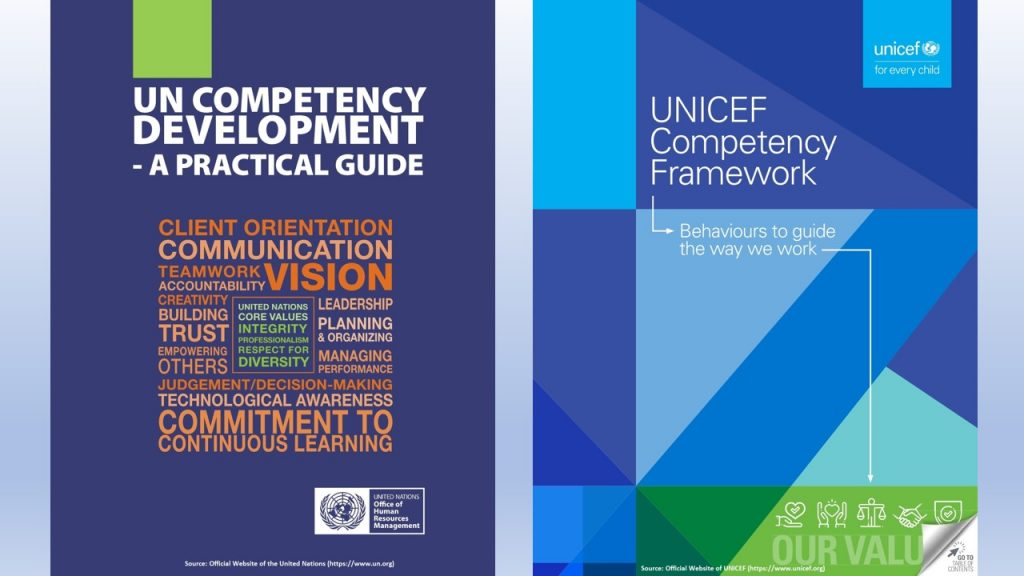 Recruitment and talent management are defined by the competencies and the competency based frameworks of organizations, like the ones of the UN & UNICEF.