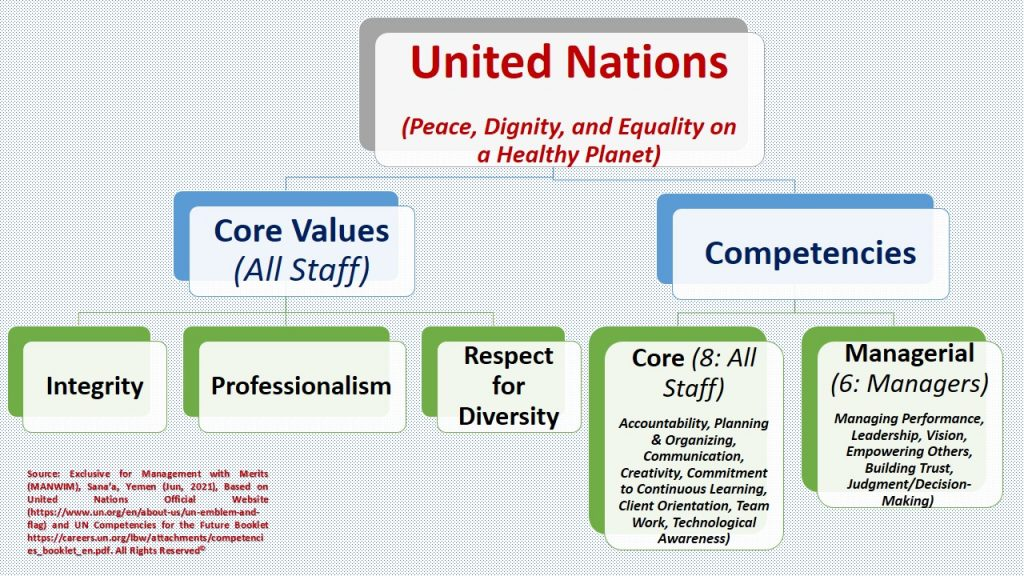 UN's core values and competencies focus on the humanitarian mission, professionalism, transparency, and so forth.
